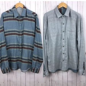 Faherty Blue Striped Reversible Flannel Outdoors